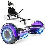 GeekMe Hoverboard mit Sitz, Elektroroller Hoverkart, Elektro Scooter Go-Kart mit Bluetooth-Lautsprecher LED-Leuchten, Geschenk für Kinder Jugendliche Erwachsene
