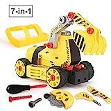 BeebeeRun Montage Spielzeug Auto LKW,Kinder Spielzeug ab 3,Spielzeug 4 Jahre Junge,Lastwagen Autos,7 in 1,65 TLG,Kleinkind Baustelle Kinder Spielzeug ab 5 ab 6