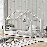 Kinderbett mit Lattenrost und Gitter 90 x 200 cm Hausbett Holz Weiß Bettenhaus Bett Jugendbett