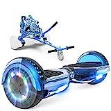 GeekMe Hoverboards mit Sitz,Elektroroller Hoverkart, Elektro Scooter Go-Kart mit Bluetooth-Lautsprecher LED-Leuchten, Geschenk für Kinder Jugendliche Erwachsene