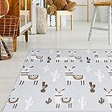 Baby Vivo Premium Wende-Spielteppich Alpaka | Kinderspielteppich Spielmatte Spieleteppich Krabbelmatte Babyteppich | 1 cm dicker XPE Kinderteppich XXL 200 x 180 cm