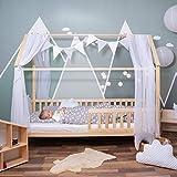 Alcube Hausbett 90x200 cm - vielseitiges Holz Kinderbett für Jungen & Mädchen - Massivholz Kinder Bett mit Rausfallschutz und Lattenrost 200x90 cm - Natur