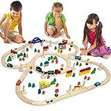 EYEPOWER 130-teilige Holzeisenbahn Set Spielzeug-Eisenbahn 5m Holzbahn Kinder-Bahn Zug Spiel-Set Holz