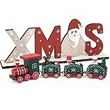 BHGT Weihnachten Zug Weihnachtszug Weihnachtsdekoration aus Holz Eisenbahn Holz Weihnachtsdeko Holz als Geschenk Mini Weihnachten Spielzeug mit Noel Deko aus Holz Grün