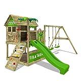 FATMOOSE Spielturm Klettergerüst TikaTaka mit Schaukel & apfelgrüner Rutsche, Stelzenhaus mit Sandkasten, Leiter & Spiel-Zubehör