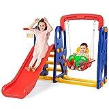 COSTWAY 3 in 1 Kinder Spielplatz, Kinder Rutsche & Schaukel & Basketballkorb für Kinder von 3-8 Jahren, Schaukelgerüst, Gartenschaukel, Kinderschaukel, Kinderrutsche für Outdoor und Indoor