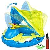 Gifort Baby Schwimmring Aufblasbarer, Baby Schwimmhilfe Schwimmen Boot Schwimmtrainer mit Einstellbar Sonnendach, Baby Float Urlaub Spielzeug fr Kinder ab 12 bis 48 Monaten