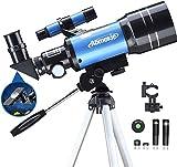 Aomekie Teleskop Kinder Einsteiger 70MM Teleskop Astronomie mit Smartphone Adapter Aluminium Stativ Barlow und Umkehrlinse