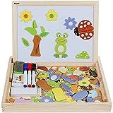 Anpro Magnetisches Holzpuzzle mit Doppelseitiger Tafel, 110 Stck pdagogisches Holzspielzeug Lernspielzeug Staffelei Doodle fr Kinder ab 3 Jahre alt, EINWEG