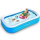 TrekPow Pool, 305 * 183 * 56cm aufblasbarer Pool, Familien Swimmingpool und Einfaches Set Planschbecken für Kinder Erwachsene