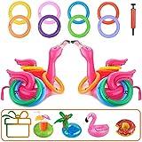 Hook 2 Ringwurfspiel Aufblasbarer Poolspielzeuge Kinder Ringwurfspie Flamingo Pool RingeWurfspiel Kinder Erwachsene Partyspiele Partyhüte mit 8 Ringe, Luftpumpe, 4 Aufblasbare Getränkehalter