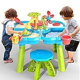 TEMI 4-in-1 Sand Wassertisch, 32 STÜCKE Sandkastentisch mit Strand Sand Wasser Spielzeug, Kinder Aktivität Sensorischer Spieltisch Sommer Outdoor Spielzeug für Kleinkind Jungen Mädchen