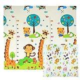 CCLIFE Krabbelmatte Spielmatte Baby Schadstofffrei 196x176x1cm Faltbar Spielunterlage Spielteppich Groß Rutschfest Beidseitig Tragbar Wasserdicht für Innen Außen Bunt