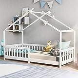 belupai Schönes Hausbett Kinderbett,Vollholz mit Zaun und Lattenrost, mit Rausfallschutz für Kinder- und Jugendzimmer,Weiß (200x90cm)