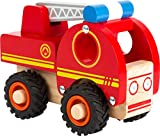 Feuerwehrfahrzeug aus Holz mit gummierten, bodenschonenden Rädern (Small Foot)