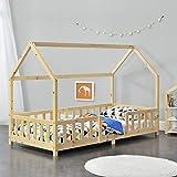 Kinderbett Sisimiut 90x200 cm Hausbett mit Rausfallschutz Bettenhaus mit Lattenrost Kiefernholz Natur