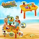 DRULINE Sand & Wasser Spieltisch Spielzeug Sandspieltisch Wasserspieltisch Buddeltisch Zubehör 2IN1inkl.Kinder Sandspielzeug ab 3 Jahren 67x42x39 cm Gelb/orange/bunt(24TLG)