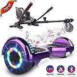 GeekMe Self Balance Elektro Scooter mit Hoverkart, Elektroroller mit Hoverboard, Balance Board + Go-Kart 6,5 Zoll mit Bluetooth-Lautsprecher, LED-Leuchten, Geschenk fr Kinder, Jugendliche, Erwachsene
