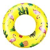 HeySplash Cartoon Schwimmring, Aufblasbar Haltbar Runde Schwimmreifen Flamingo Sommer Pool Beach Party Lounge Floßrohr Spielzeug mit Reparatursatz für Kinder Erwachsene 90 cm Durchmesser - Gelb