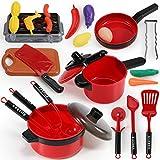 GeyiieTOYS Kinderküche Zubehör Topfset Kochtopf Kochgeschirr Set Spielküche aus Pfanne und Lebensmittel Küchenspielzeug für Mädchen Jungen