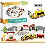 Holzeisenbahn und Eisenbahn Set - Elektrische Eisenbahn für Kinder , Elektrisch Spielzeug Zug, Passend für Brio, Thomas, Chuggington und andere große Marken