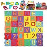 Schutzmatte, StillCool Puzzlematte Kinder Lernteppich mit Buchstaben und Zahlen, Spielmatte rutschfest - 36 teilige Spielteppich für Baby & Kinder, 15 * 15cm