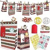 Hook Adventskalender zum Befüllen XL Große Tüten, Adventskalender Tüten Gross, Geschenk Papiertüten groß, 2020 Weihnachtskalender selber basteln für Kinder Mädchen