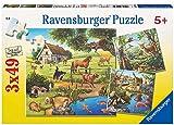 3 Puzzle für 5-jährige Kinder: Waldtiere, Zootiere und Haustiere