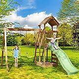Spielturm Adventure Klettergerüst Schaukel Rutsche Sandkasten Maße H266cm x B274cm x T357cm Holz Garten BRAST