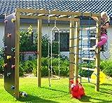 Kinder-Kletterturm mit Kletternetz, Reckstange, Kletterwand und Leiter (Spiel & Garten)