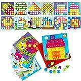 LVHERO Mosaik Steckspiel fr Kinder ab 2 Jahre, Steckmosaik mit 46 Steckperlen und 12 Bunten Steckpltte, Mosaiksteine mit  3.5cm, Pdagogische Baustein Sets, Lernspielzeug Geschenke
