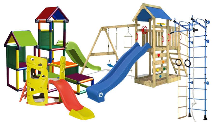 Verschiedene bunte Spieltürme für Kinder