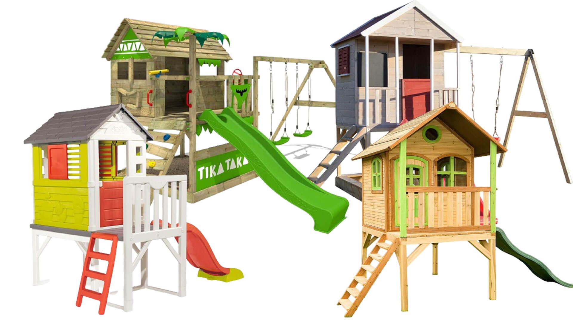 Verschiedene bunte Stelzenhäuser für Kinder